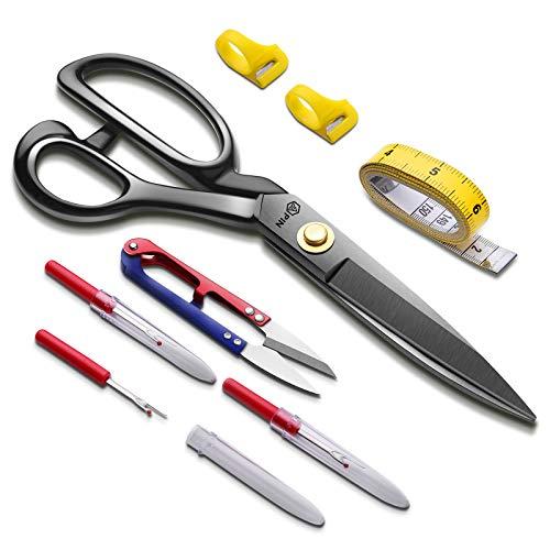 Juego de tijeras de costura profesionales de 9 pulgadas, tijeras de alta resistencia, cinta métrica, tijeras de hilo, 3 escarificadores de costura, 2 anillos de corte, tijeras de coser de cuero para