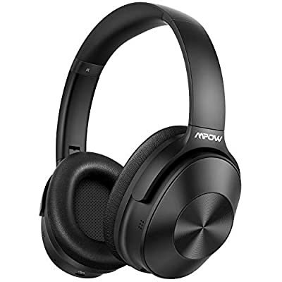 Hybrid Noise Cancelling Headphones, Mpow Bluetooth 5.0 Headphones Over Ear, Hi-Fi Deep Bass Wireless Headphones with Mic, Soft Protein Earpads Headset for Home Office Online Class Cellphone PC TV from Mpow