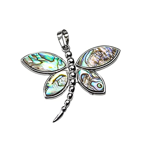 TNSYGSB Rainbow Dragonfly Charm Colgante Collar de Moda Abalone Paua Shell Snake Style Chain Adornos Nautilus maqueta (Color : Big, Size : Free)