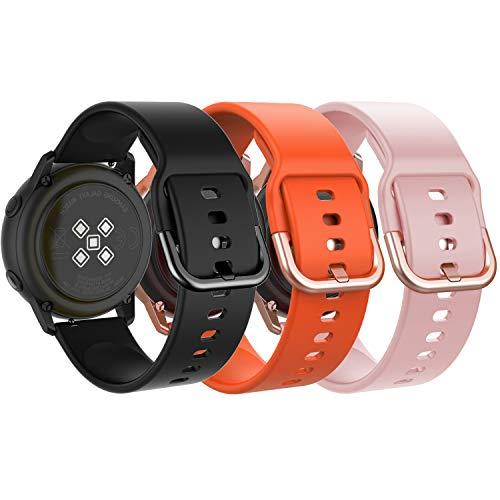 MoKo Compatible con Galaxy Watch 3 41mm/Galaxy Watch 42mm/Galaxy Watch Active/Active 2/Gear S2 Classic/Huawei Watch GT/GT 2 42mm Reloj Correa, 20mm 3 Silicona Banda de Reloj - Negro y Naranja y Rosa