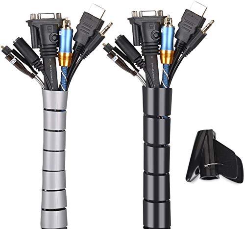 Organizador Cables-WENTS Cubre Cables de 2 x 2m Flexible Funda Organizador Cables, Organizador de Cables Mesa, Recoge Cables para Office y PC Escritorio 22/28mm
