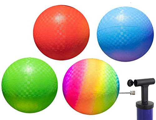 Playground Balls 10 inch Dodgeball - Kickball for Boys Girls Kids Adults - Official Size Bouncy Dodge Ball, Handball, Four Square Picnic School + Free Pump… (Pack of 4)