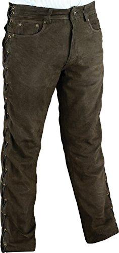 Fuente Schnürlederhose- Biker Lederhose- Herren-Damen Bikerjeans - Schnür Lederjeans Motorrad Lederhose aus Nubuk echt Leder Braun (54, Braun)