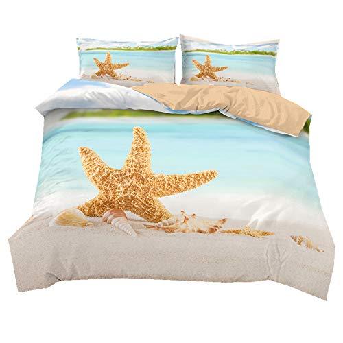 Ropa de Cama Ocean Star Paisajes Naturales Playa soleada Ambiente de Verano Funda de edredón Niños Cama 90 Ánimo de Vacaciones Funda nórdica 180x220 + Funda de Almohada 50x75