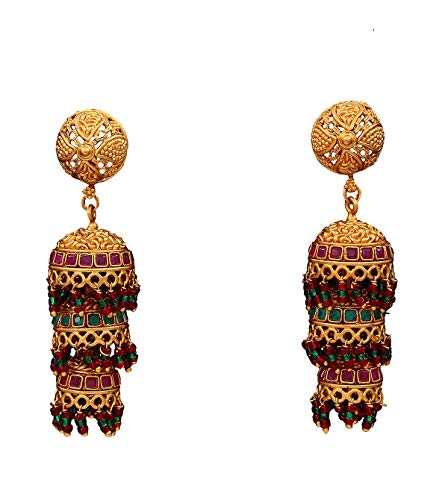 Suryagems Pretty Jhumki Hanging Earrings Gold Plated Design Indian Handcrafted Fashion Jewellery for Women and Girls ME 156 M-MULTI