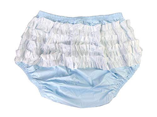 Haian Adult Frilly Plastic Rumba Incontinence Pull-on Plastic Pants with White PVC Frilly (X-Large, Baby Blue)