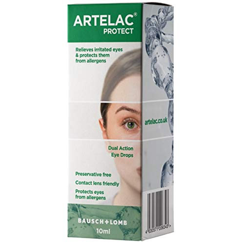 Artelac Protect 10ml Eye Drops Provides Protection Against Allergens and Reduces Eye Irritation, 1 Pack, Green, 02281UK-IC