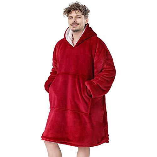 Sudadera de sherpa de gran tamaño, con capucha y bolsillo frontal gigante, súper suave, cálida, cómoda, talla única, para hombres, mujeres, niñas, niños