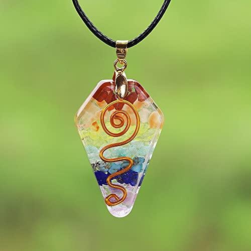 NIUBKLAS Collar de Piedra de Cristal de 7 Chakra, Colgante curativo de Reiki, joyería curativa arcoíris, joyería Colgante de Resina