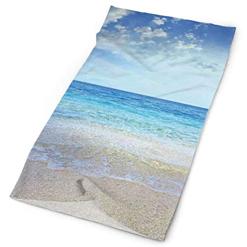 GUUi Headwear Headband Head Scarf Wrap Sweatband,Wavy Crystal Sea and Sky with Clouds at The Sandy Beach Be Grateful to Nature Theme,Sport Headscarves for Men Women