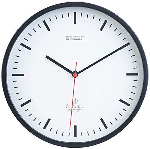 St. Leonhard Bahnhofswanduhr: Analoge Wand-Bahnhofsuhr mit schleichendem Quarz-Uhrwerk, Ø 22,5 cm (Wanduhr Bahnhof)
