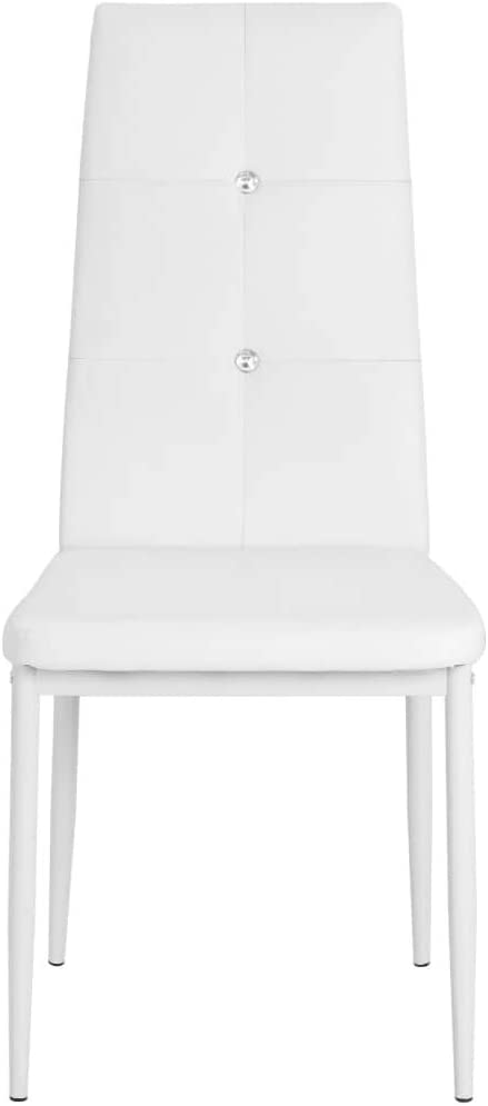 Festnight Lot de 6 Chaises de Salle à Manger Chaises de Cuisine en Cuir Artificiel 43x43,5x96cm Noir Blanc