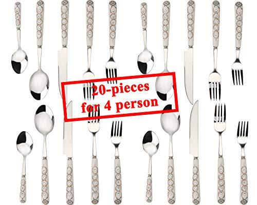 DUEBEL Ceramics Flatware Cutlery Set No Rust Stainless Steel Utensils Service for 4 Include Knife Fork Spoon Dishwasher Safe Home Hotel Restaurant Christmas Dinner (20 Pieces Flatware Set White B)