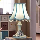 Lámpara de mesa E27 vintage americana moderna azul dormitorio lámpara de noche lámpara de tela creativa Pastoral resina estudio salón hotel lámpara decorativa lámpara de escritorio máx. 40 W H3