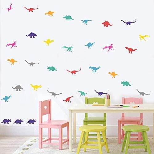 98 Stück Wandaufkleber für Kinderzimmer,Bunte Dinosaurier Wandtattoo für Jugendzimmer,DIY Abnehmbare Dino Wandtattoos für Kinder Schlafzimmer Babyzimmer Klassenzimmer Wanddeko Party-Dekoration