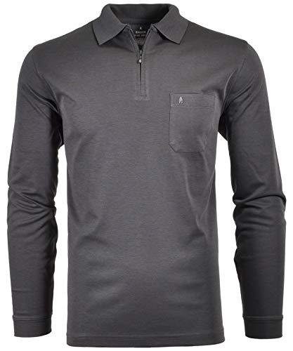 Ragman Herren Softknit-Poloshirt Langarm mit Zip