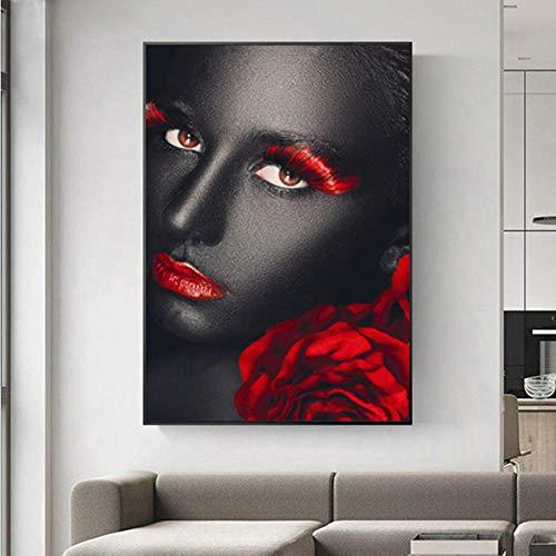 TXTYUMR Carteles e Impresiones de Labios Rojos de Mujer Negra, Pintura en Lienzo, Estilo nórdico, Retrato Abstracto, Arte de Pared para decoración de Sala de Estar/sin Marco