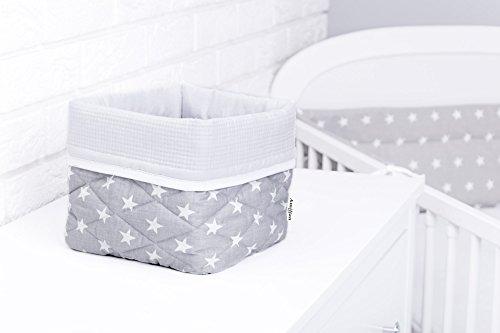 Amilian® Aufbewahrungsbox Körbchen ca. 20 x 20 x 20 cm Stoffbox Organizer Windelspender Korb Sternchen grau