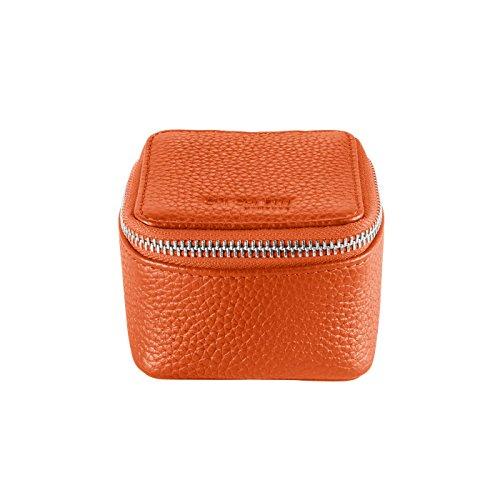 CHI CHI FAN Ring Box – Orange   Schmuckkästchen aus echtem Leder   Top Qualität und klares Design treffen auf maximale Funktion   Optimaler Schutz für Schmuck wie Ringe,...