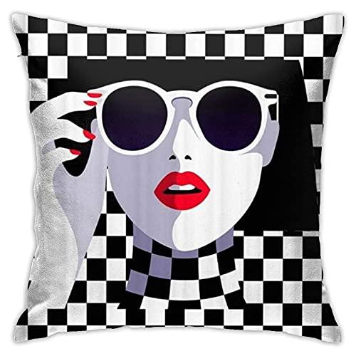 Quadratische Dekokissenbezüge, Red Lip Sunglass Cool Lady Queen Black White Square Red Nails, für Couch Sofa Home Decor personalisierte Kissenbezug 18 x 18 Zoll In