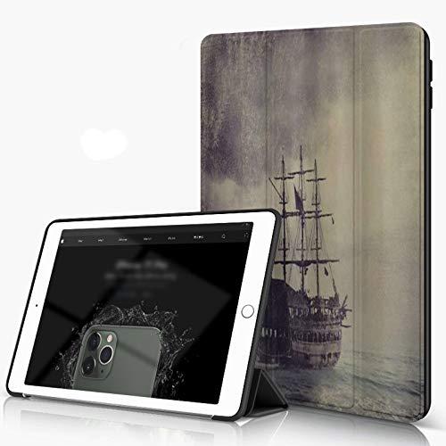 She Charm iPad 10.2 Pouces 7ème Génération 2019 de qualité supérieure, Nautique Vieux Bateau Pirate dans la mer croisière Historique rétro Voyage Grunge Sty Housse Étui avec Veille/Réveil Automatique