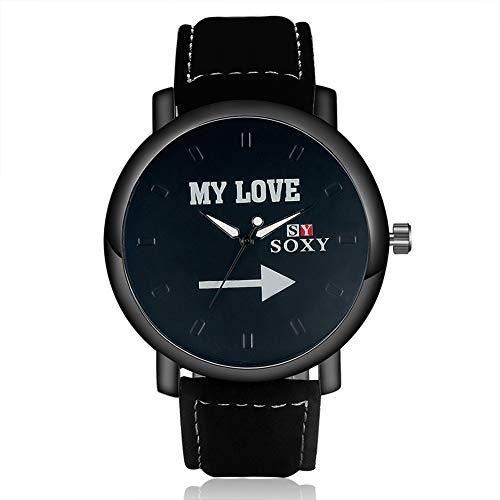 SJXIN Schöne und stilvolle Armbanduhr, 2017 Mode Männer Meine Liebe Uhr SOXY Leder Uhr Modeuhren (Color : 1)