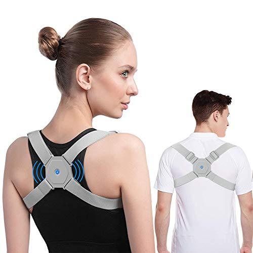 BINSENI Corrector de postura para hombres y mujeres niños con recordatorio de vibración inteligente correa ajustable apoyos de la parte superior de la espalda correctos sentados y de pie (Unisex)