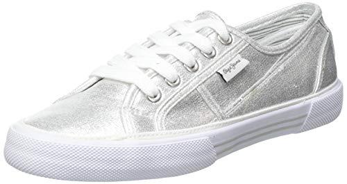 Pepe Jeans Damen Aberlady Shine Sneaker, 934silver, 39 EU