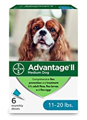6-dose topical flea treatment for medium dogs between 11-20 pounds Easy-to-apply and pre-measured application tubes, fragrance-free and designed specifically to treat and prevent fleas on dogs Advantage II medium dog flea treatment kills fleas throug...