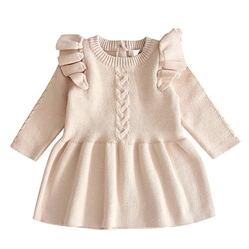 De feuilles Baby Strickkleider Mädchen Rundhals Kleider Langarm Plisseekleider mit Volant Zopfmuster Herbst Frühling Mädchenkleidung