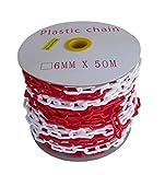SNS SAFETY LTD Cadena Plástico de Señalización 6 mm (Rojo y Blanco, 50,0 metros)