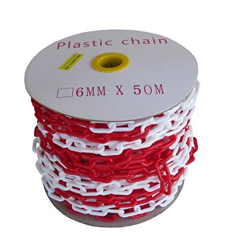 SNS SAFETY LTD Kunststoffkette Absperrung 6 mm, Rote Weiße, 50 Meter