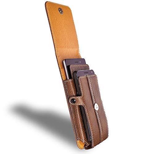 AXELENS Cover Custodia Universale a Sacchetto per Due Smartphone (da 5,2'' a 6,0'') Moschettone per Cintura e Comoda Chiusura a Clip Portafoglio Verticale - Similpelle MARRONE