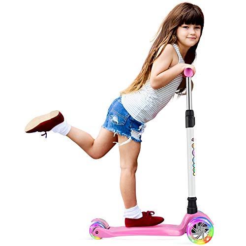 BELEEV Kinderscooter Dreirad für Kinder Kleinkinder Mädchen und Jungen, kinderroller von 3 bis 12 Jahren, 3 LED Räder Roller Scooter mit 4 Höhenverstellbare und Verstellbare Lenker(Pink)