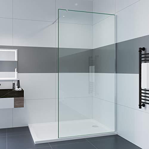 IMPTS Duschwand Walk In Dusche 80 x 200 cm 8mm Nano ESG Glaswand mit Stabilisator Duschtrennwand Glas Duschabtrennung