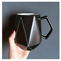 幾何学的な線ティーカップ、陶磁器のマグカップ、白黒、家、オフィス、パーティーなどに適しています。 (Color : Black)