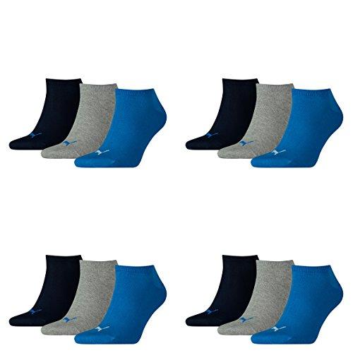 PUMA Unisex Invisible Sneaker Socken 12er Pack, Größe:43-46, Farbe:Blue / Grey Melange (277)