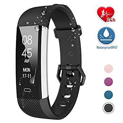 Fitpolo Fitness Tracker, Activity Tracker Watch with Heart Rate Monitor Waterproof Smart Fitness Wristband with Step Counter, Calorie Counter, Pedometer for Kids Men Women(Black)