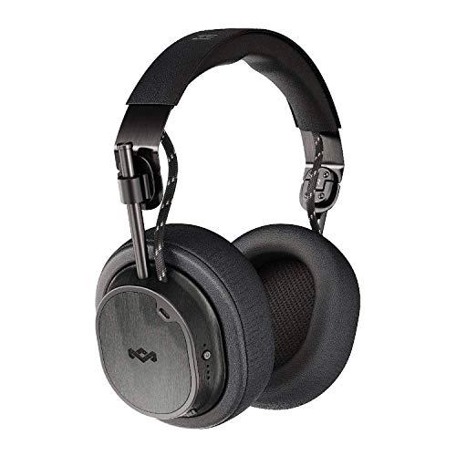 House Of Marley Exodus ANC, Cuffie Over Ear Wireless con Riduzione del Rumore Regolabile, Auricolare Pieghevoli senza Fili con Bluetooth 5.0, fino a 28 Ore di Autonomia, Microfono Incorporato, Nero