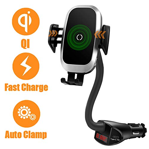 Wireless Car Charger Cigarette Lighter Phone Mount, PD QC 3.0 Dual USB Fast Charging Adapter Qi Cell Phone Holder Compatible with iPhone 11 Pro XS MAX X XR 8, Samsung Galaxy S10 S9 S8 Plus Note 10 9 8
