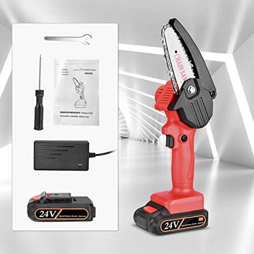 4YANG Elettrosega Motosega Elettrica Sega Elettrica Portatile con Caricatore e Batterie (5M/S,4 Pollici,24V) Velocità Regolabile, per Potatura di Alberi e Giardino(rosso)