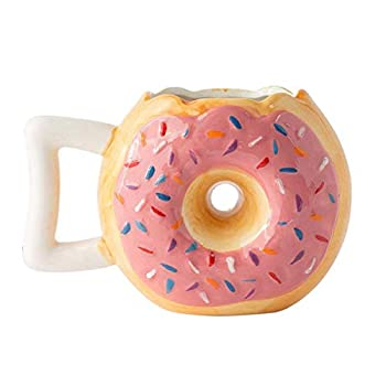 Ceramic Donut Mug - Delicious Pink Glaze Doughnut with Sprinkles - Funny  MMM.. Donuts!  Quote - Best Cup For Coffee Tea Hot Chocolate and More - Large 14 oz - Funny Coffee Mug Gift