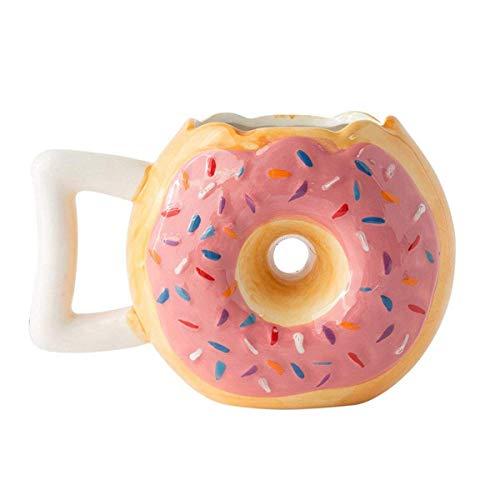 Keramik-Krapfenbecher - Köstlicher rosa glasierter Krapfen mit Nuggets - Lustige MMM. Donuts! Zitat - Beste Tasse für Kaffee, heiße Schokolade und mehr - Große 14-Unzen-Tasse - Lustige Kaffeetasse