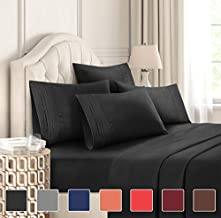 California King Size Sheet Set - 6 Piece Set - Hotel Luxury Bed Sheets - Extra Soft - Deep Pockets - Easy Fit - Breathable & Cooling - Wrinkle Free - Comfy - Black Bed Sheets - Cali Kings Sheets