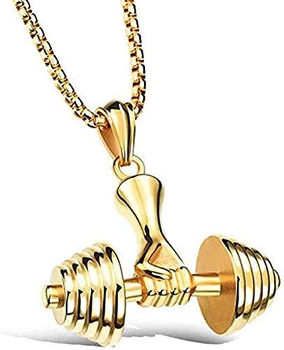 WYDSFWL Collares de Gimnasio de Moda con Colgante de mancuerna, Collar de Culturismo para Hombres y Mujeres, Collar de Pesas Deportivas con Colgante de Oro