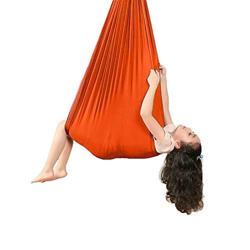ZCXBHD Hamaca Terapia Columpio Sensorial Interiores Hamaca Yoga Aérea con 200 Kg Carga Ideal para Adultos y niños Autismo ADHD Aspergers (Color : Orange, Size : 150x280cm/59x110in)