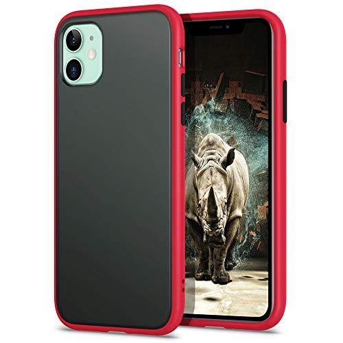 YATWIN Funda para iPhone 11(6,1''), [Shockproof Style] Transparente Mate Case, TPU Bumper Rubber y Botones Coloridos, Carcasa Protectora para iPhone 11 2019 - Rojo