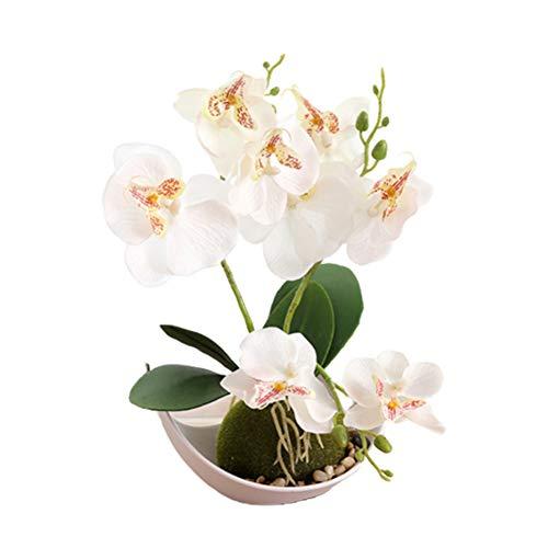 fuchsiaan Bonsái - Flores artificiales con orquídea y maceta para arreglos florales, centros de mesa, hogar, boda, festividad, porche, decoración de ventana, color blanco