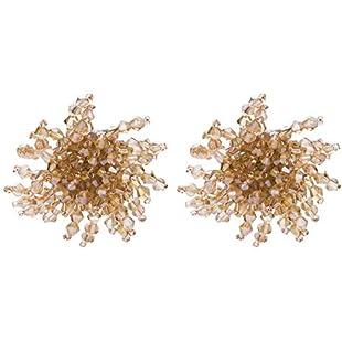 Zedo Hand-Woven Crystal Stud Earrings Elegant Ear Studs Flower Earrings Personality Ladies Earrings Size 4.5cm*4.5cm (Yellow):Comoparardefumar