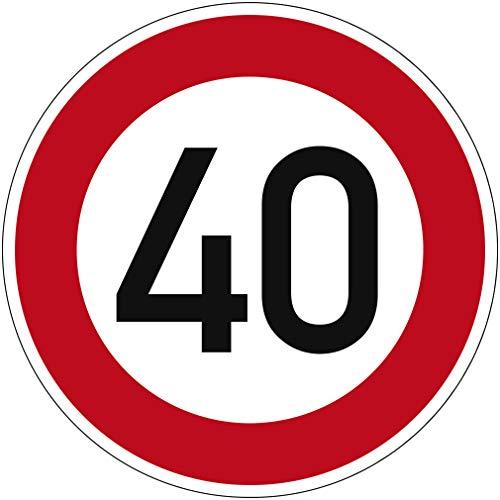 Verkehrszeichen Zulässige Höchstgeschwindigkeit 40 Nr. 274-40 | Ø 420mm, Alu 2mm, RA1 | Original Verkehrsschild nach StVO mit RAL Gütezeichen | Dreifke®